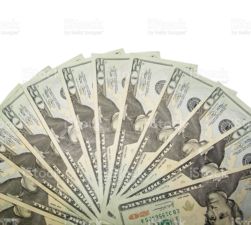 cash fanned stock photo