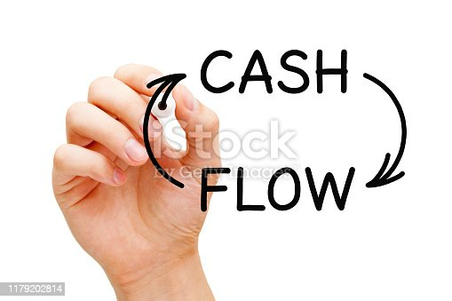 Hand drawing Cash Flow arrows business financial concept with black marker on transparent glass board.