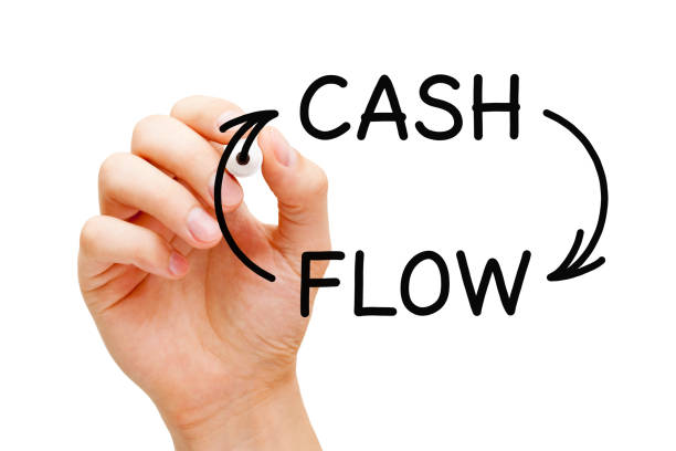 Cash Flow Arrows Business Concept Hand drawing Cash Flow arrows business financial concept with black marker on transparent glass board. cash flow stock pictures, royalty-free photos & images