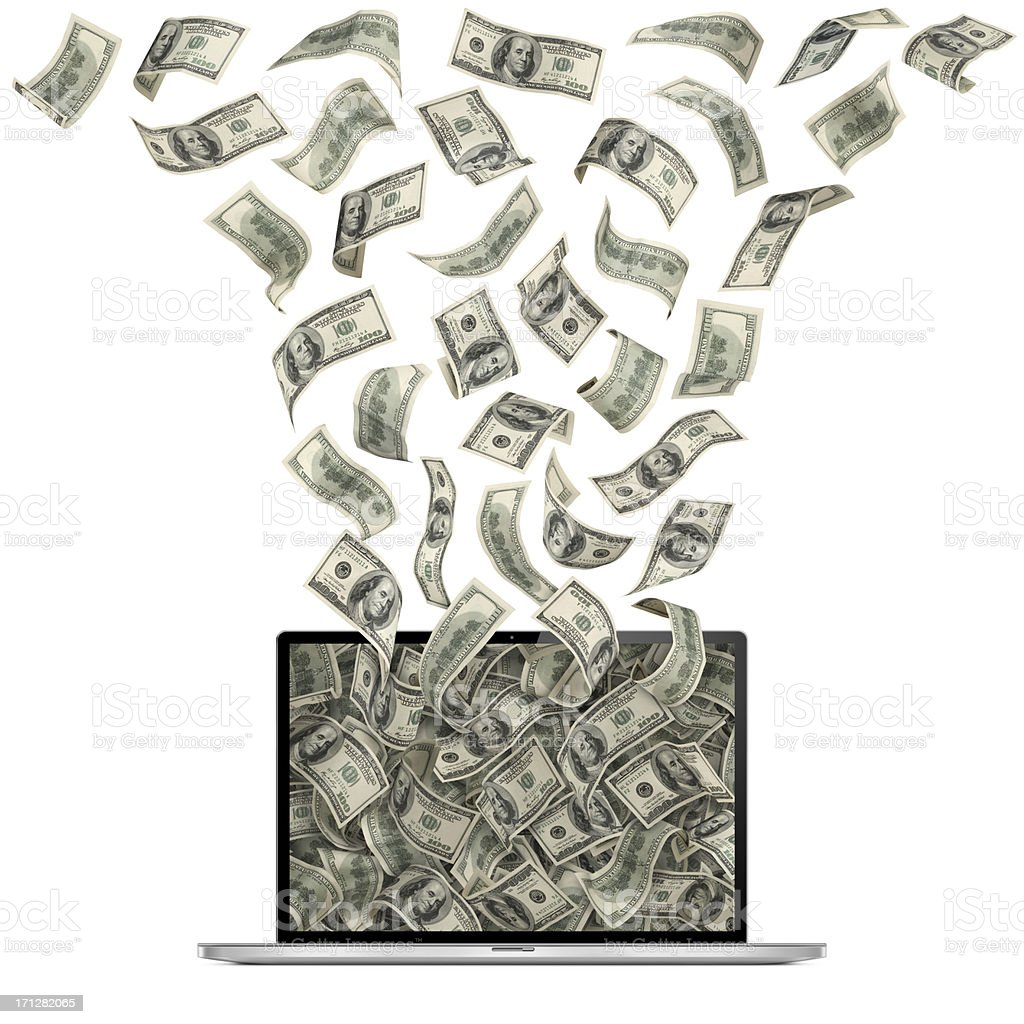 Cash Flow With Computer royalty-free stock photo