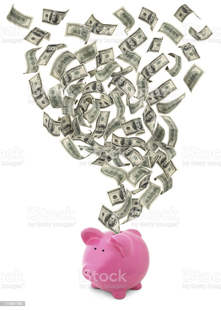 Cash Flow With Piggy Bank royalty-free stock photo