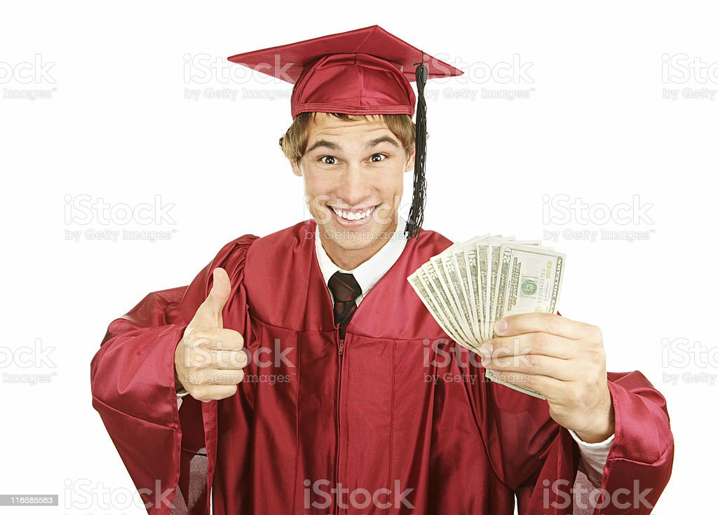 Cash for College Excited graduate holding a fist full of cash for college and giving a thumbs-up sign.  Isolated on white. Adult Stock Photo