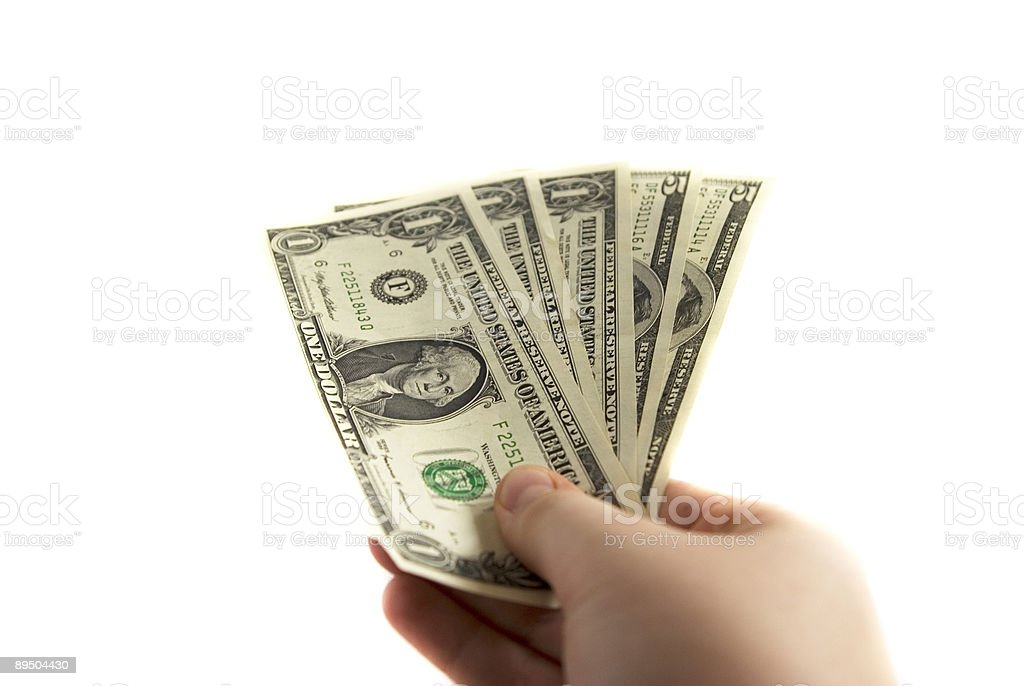 Cash in a hand royalty-free stock photo