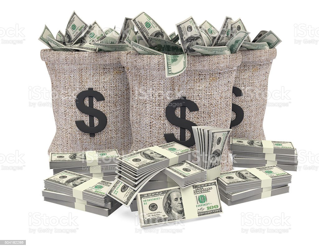 Cash in bag stock photo
