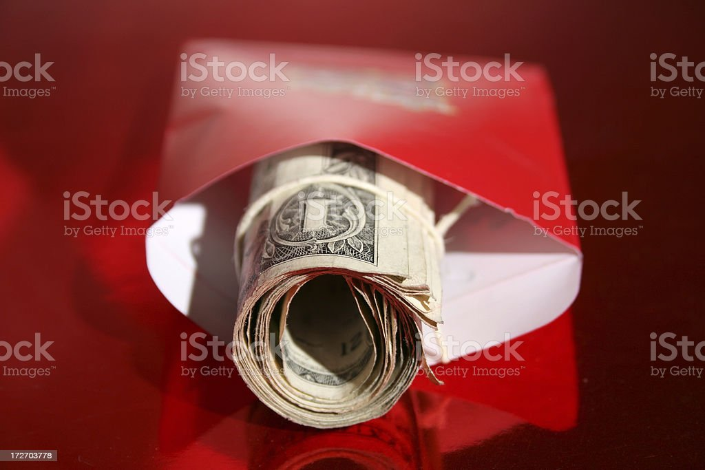 Cash in red enveleope (Chinese New Year) stock photo
