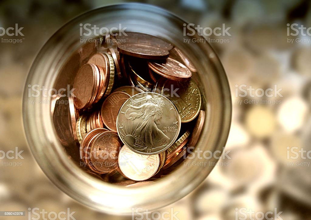 Cash Jar Filled with Cash Donations royalty-free stock photo