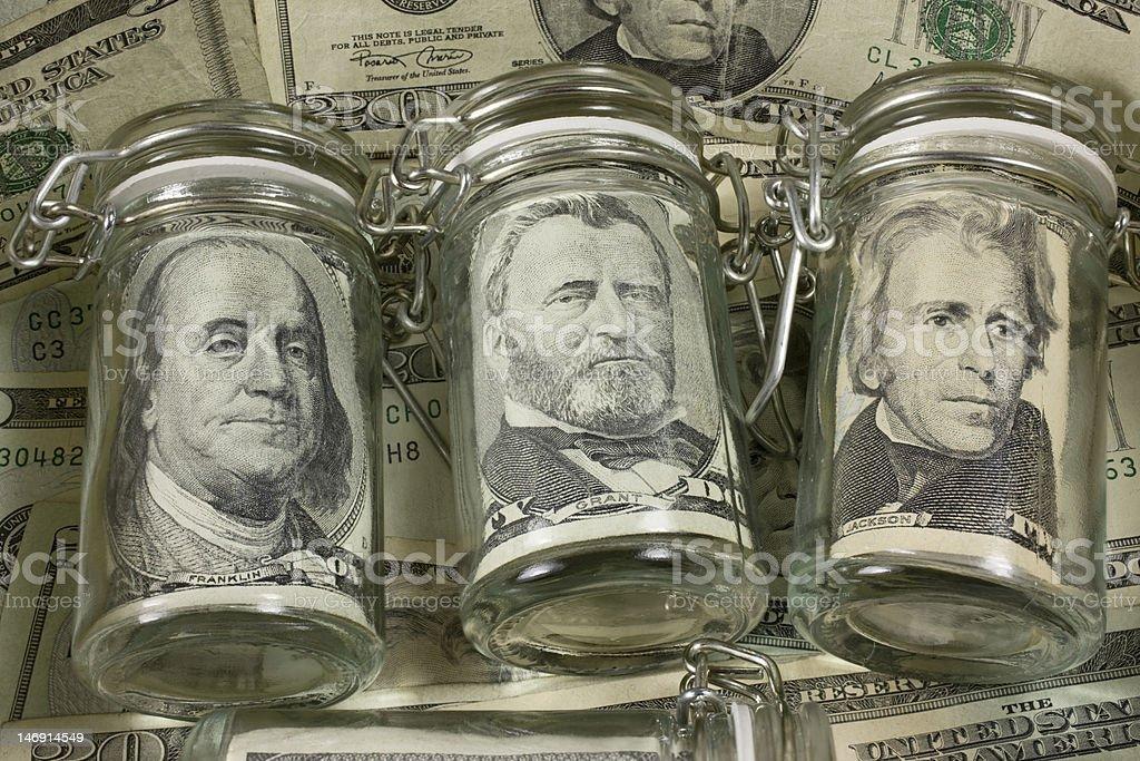 Cash jars. royalty-free stock photo