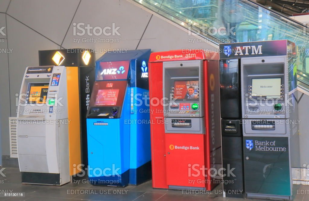 Cash machine ATM queue Melbourne Australia stock photo