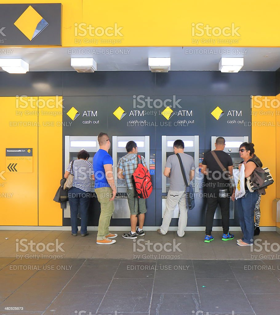 Cash machine queue stock photo