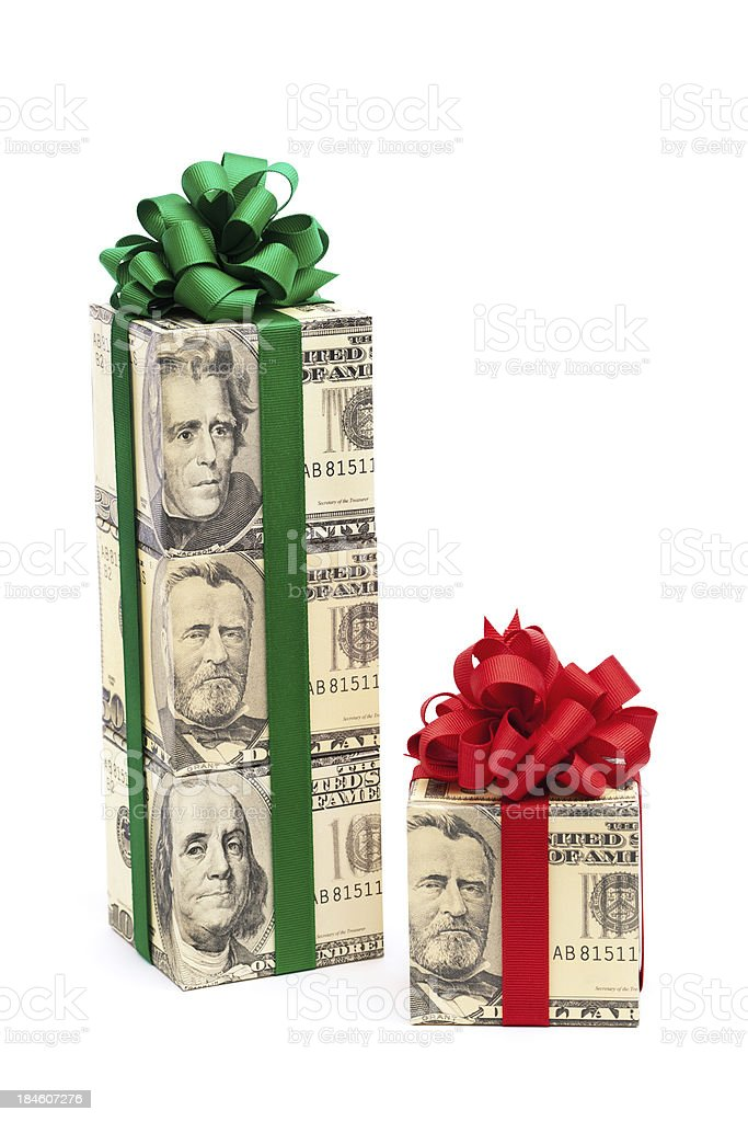 Cash Money Gift with Red and Green Bow on White stock photo
