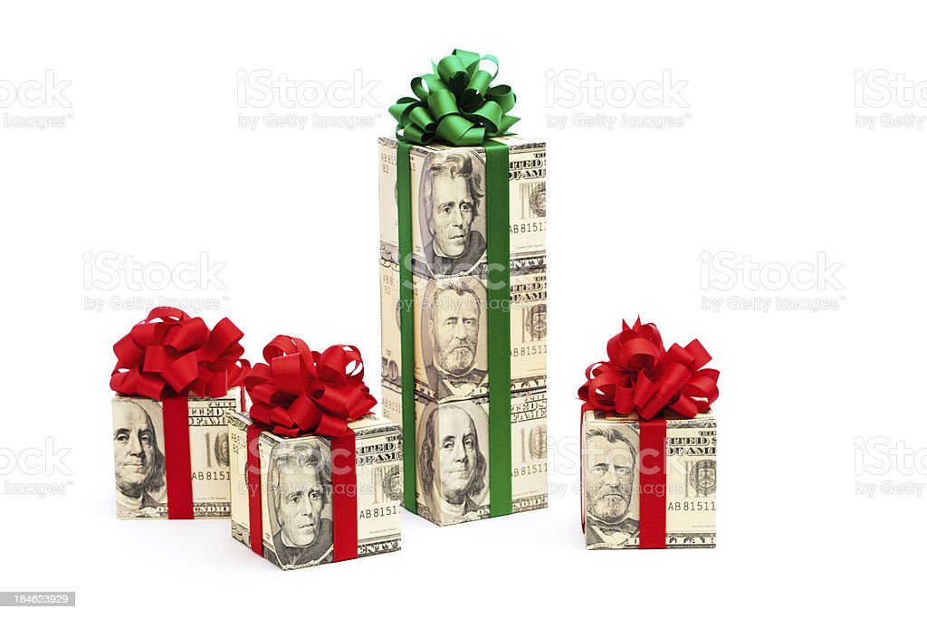 Cash Money Gifts with Red and Green Bows on White stock photo