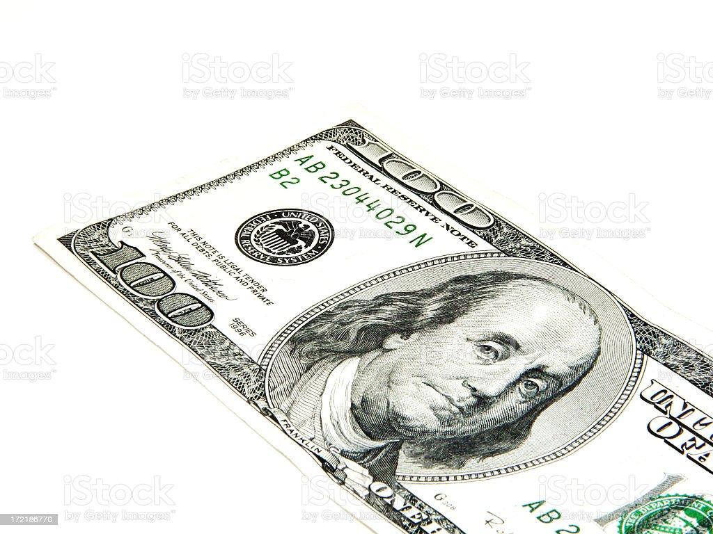 Cash Money One hundred Dollar Bill on isolated background royalty-free stock photo