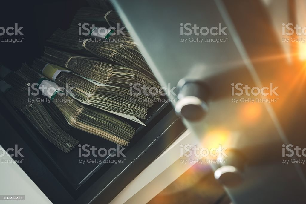 Cash Money Safe Deposit stock photo
