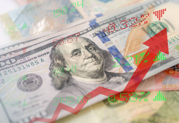 Cash of USA, Display of Stock market quotes, commercial building background stock photo
