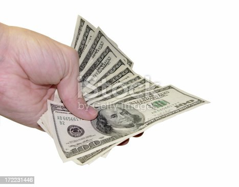 Focus on the index finger and the dirty hundreds.My Money Series.