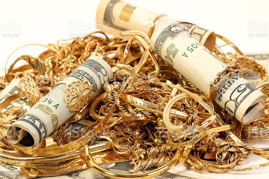Cash paid for your old jewelry royalty-free stock photo