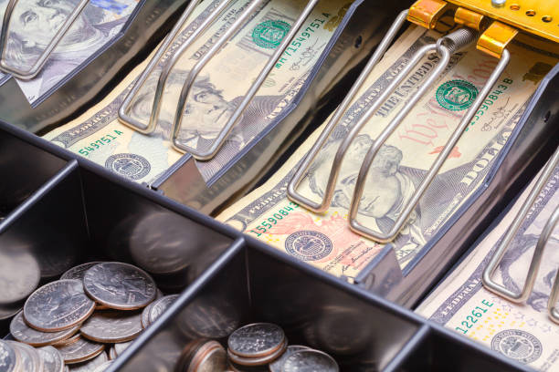 Cash Register Drawer Close Up Open Cash Register Drawer Close up with Money. cash register stock pictures, royalty-free photos & images