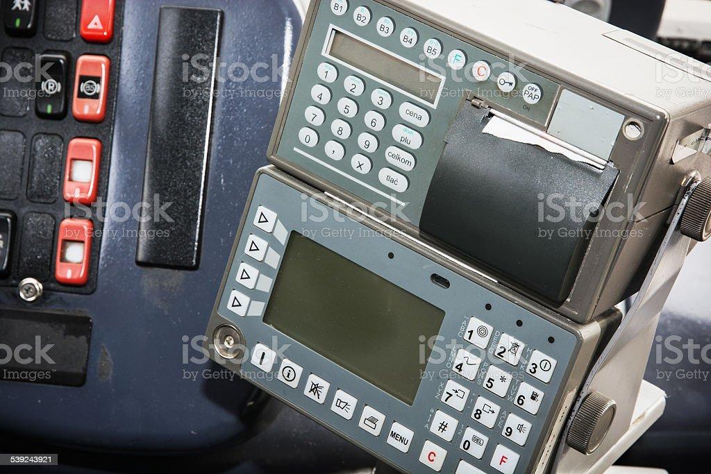 Caja registradora en el autobús foto de stock libre de derechos