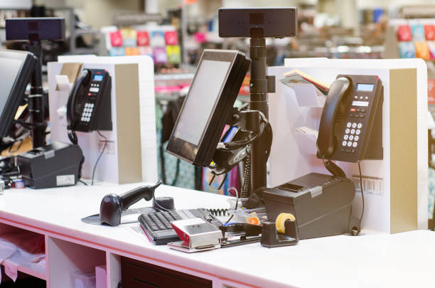 Cash register in the store stock photo
