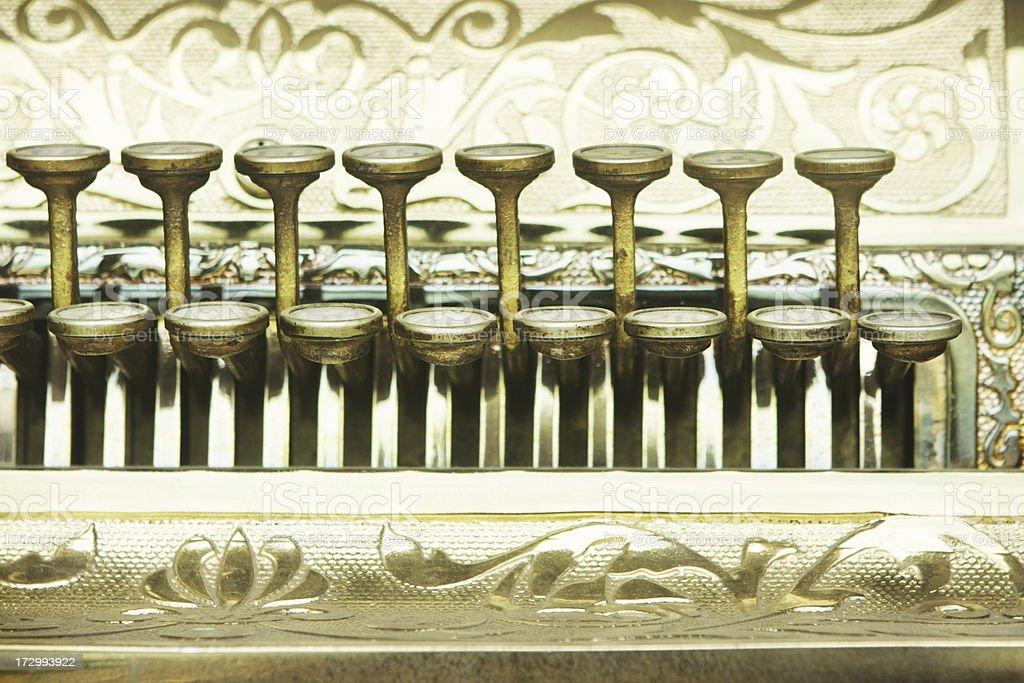 Cash Register Keys Vintage Store Equipment stock photo