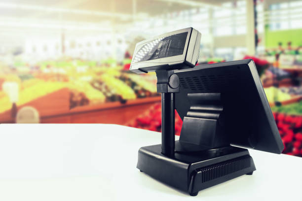 cash register on desk at grocery store cash register on desk at grocery store cash register stock pictures, royalty-free photos & images