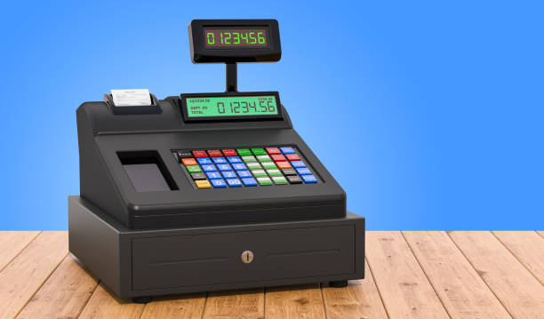Cash register on the wooden table, 3D rendering Cash register on the wooden table, 3D rendering cash register stock pictures, royalty-free photos & images