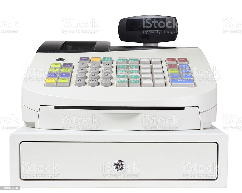 Cash Register on White with Clipping Path royalty-free stock photo