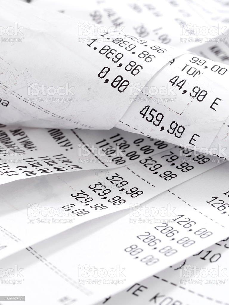 cash register receipts stock photo
