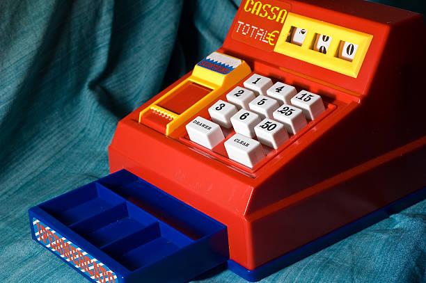 cash register toy - sale stok fotoğraflar ve resimler