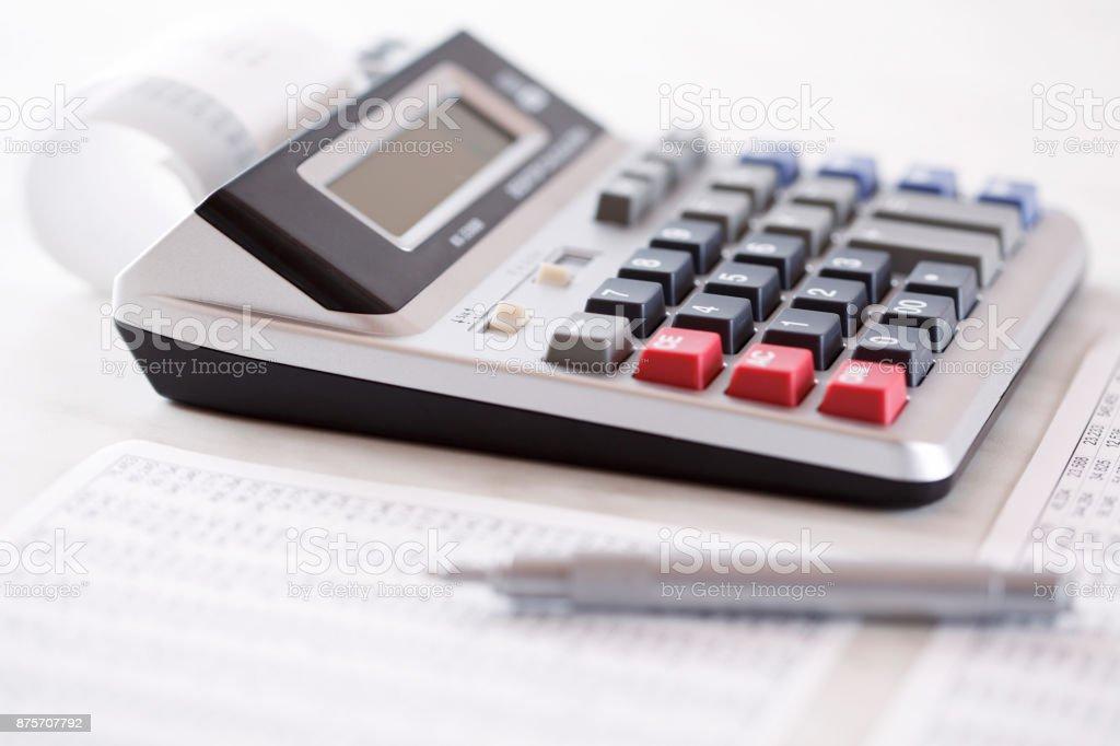 Cash register with bills stock photo