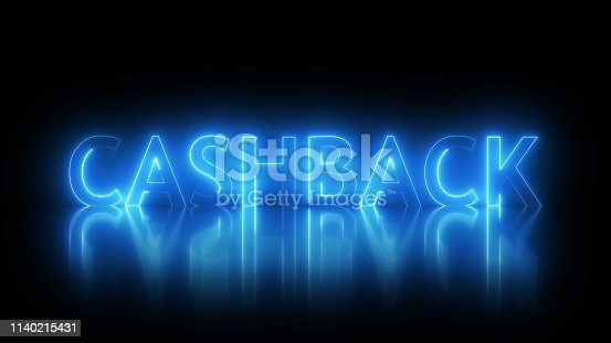 istock Cashback text with visual effect of electricity and illumination, 3d rendering for banks and retail networks 1140215431