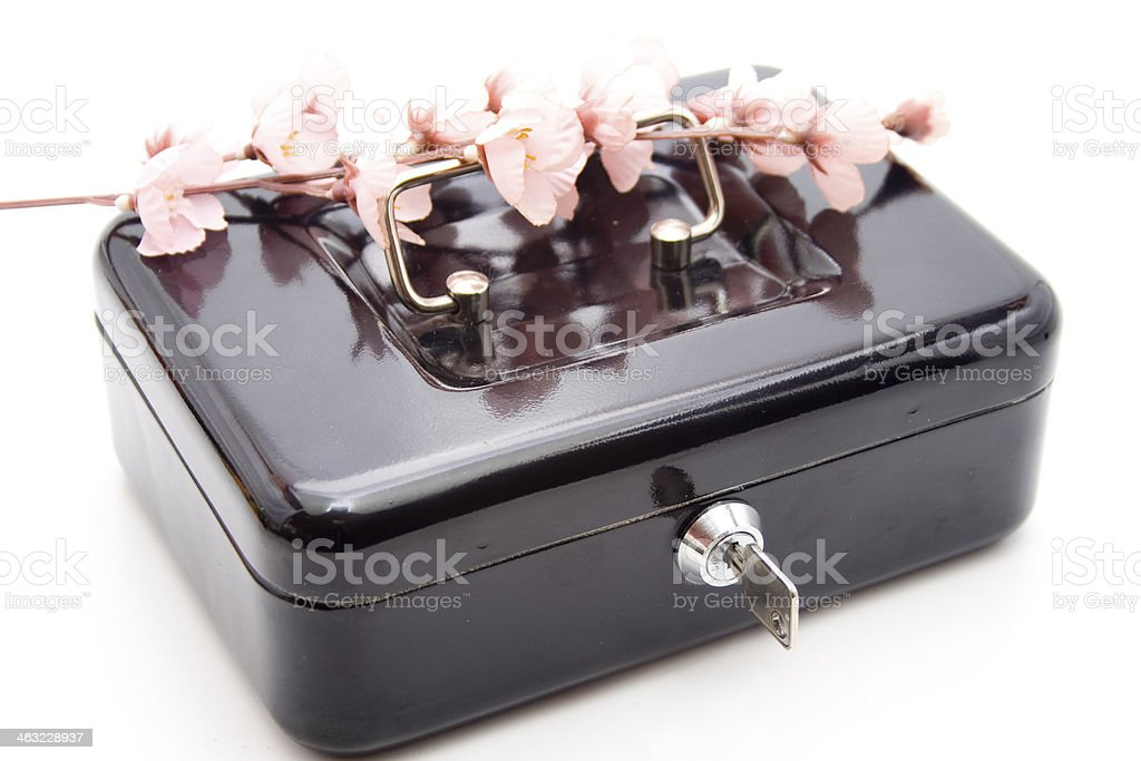 Cashbox with key and blossoms stock photo