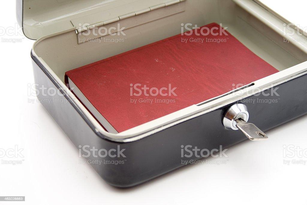 Cashbox with key stock photo
