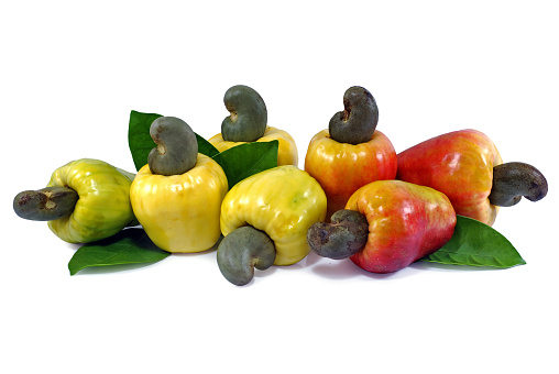 istock Cashew fruit isolated on white background 1145647560