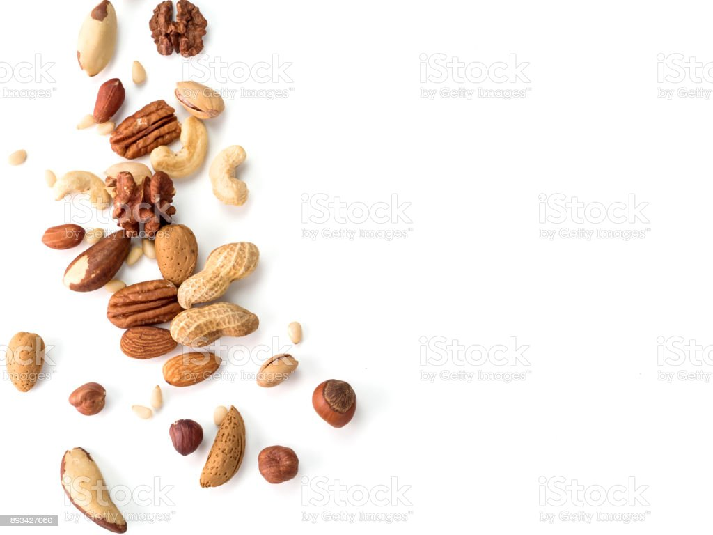 cashew, pecan, pine nuts, hazelnut isolated royalty-free stock photo