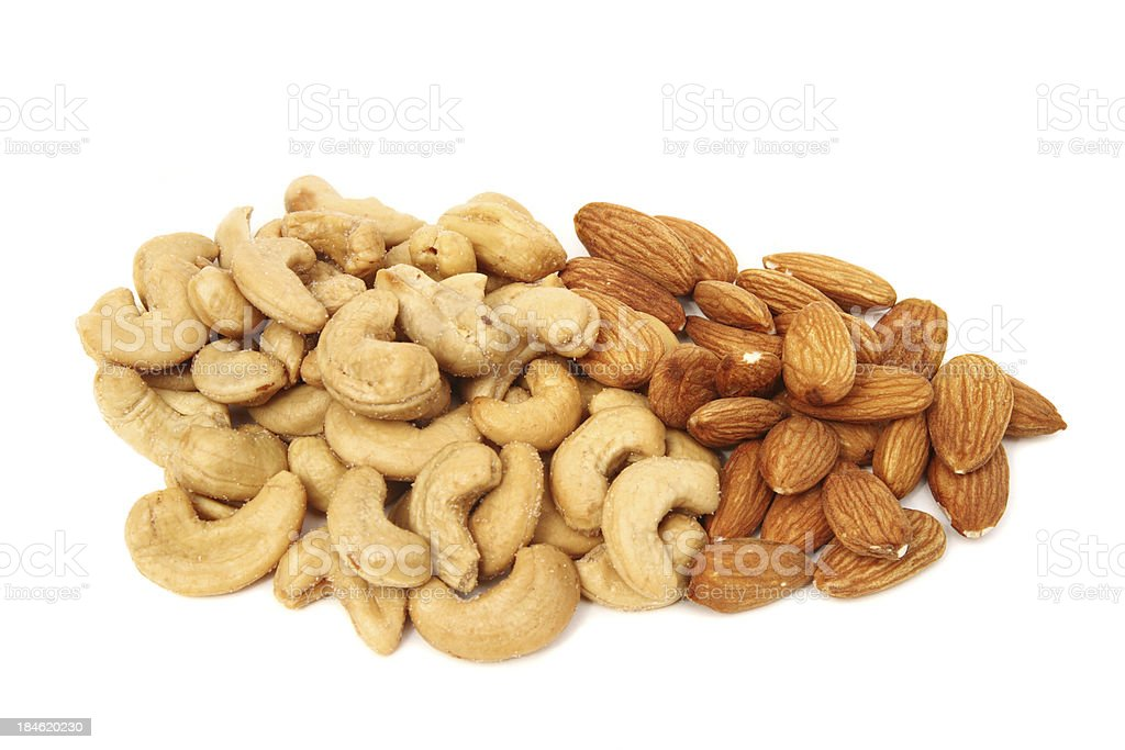 Cashews and Almonds royalty-free stock photo