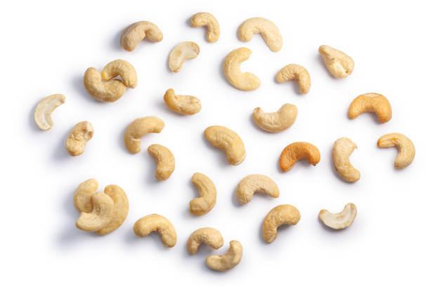 cashews seeds of a. occidentale, top, paths - cashew stock photos and pictures