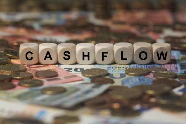 cashflow - cube with letters, money sector terms - sign with wooden cubes stock photo