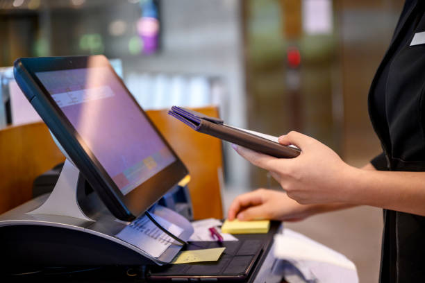 Cashier at work stock photo