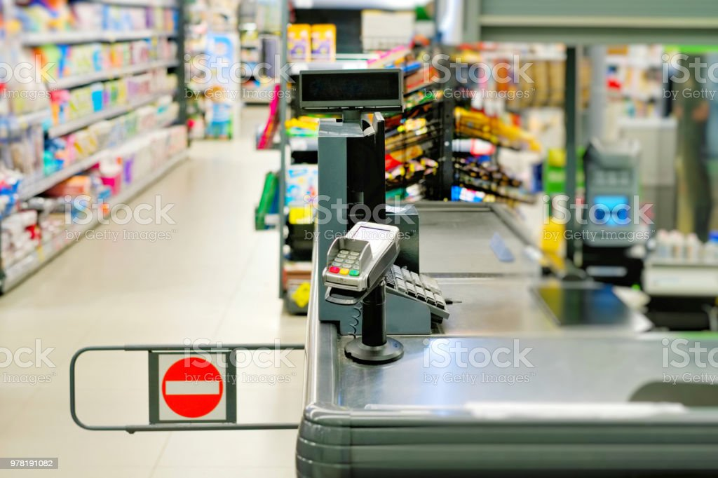 Cashier counter in the supermarket. stock photo