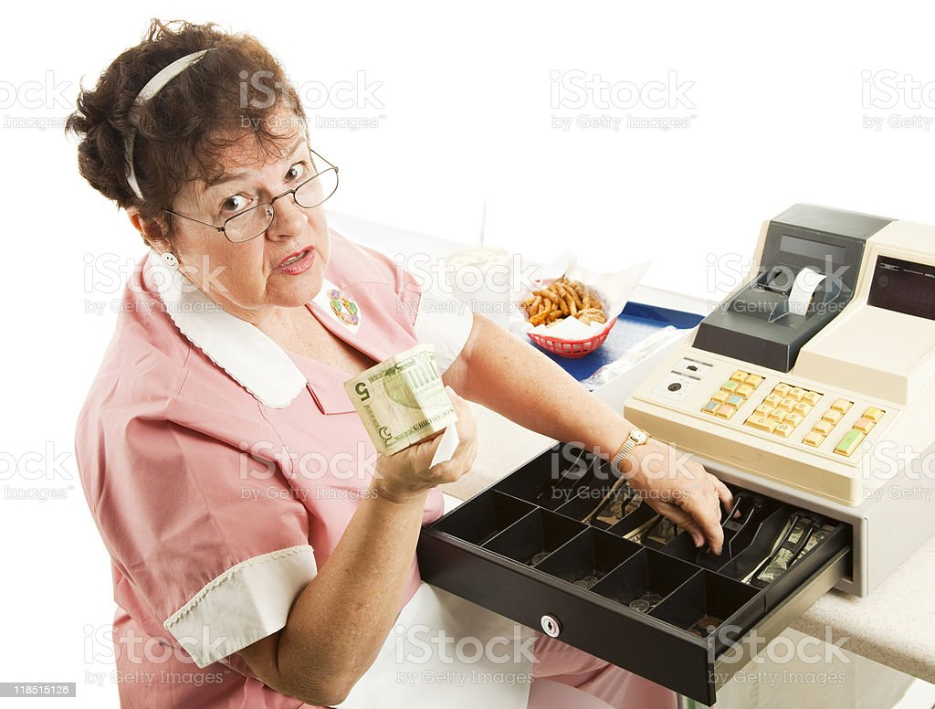 Cashier - Heres Your Change royalty-free stock photo