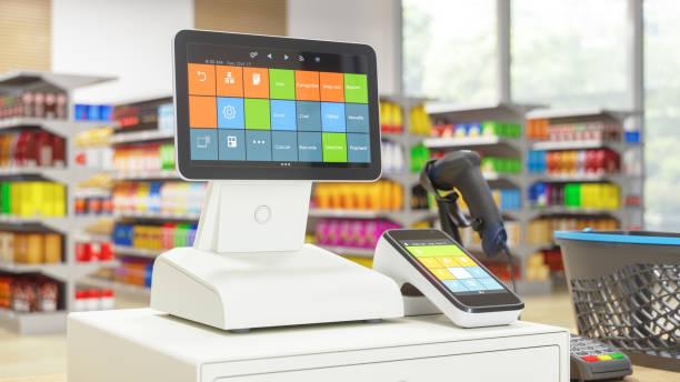 Kassenmaschine mit Digitalbildschirm im Supermarkt – Foto