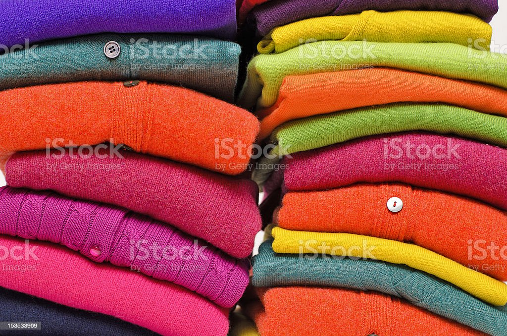 Cashmere alpaca and merino colourful sweaters royalty-free stock photo