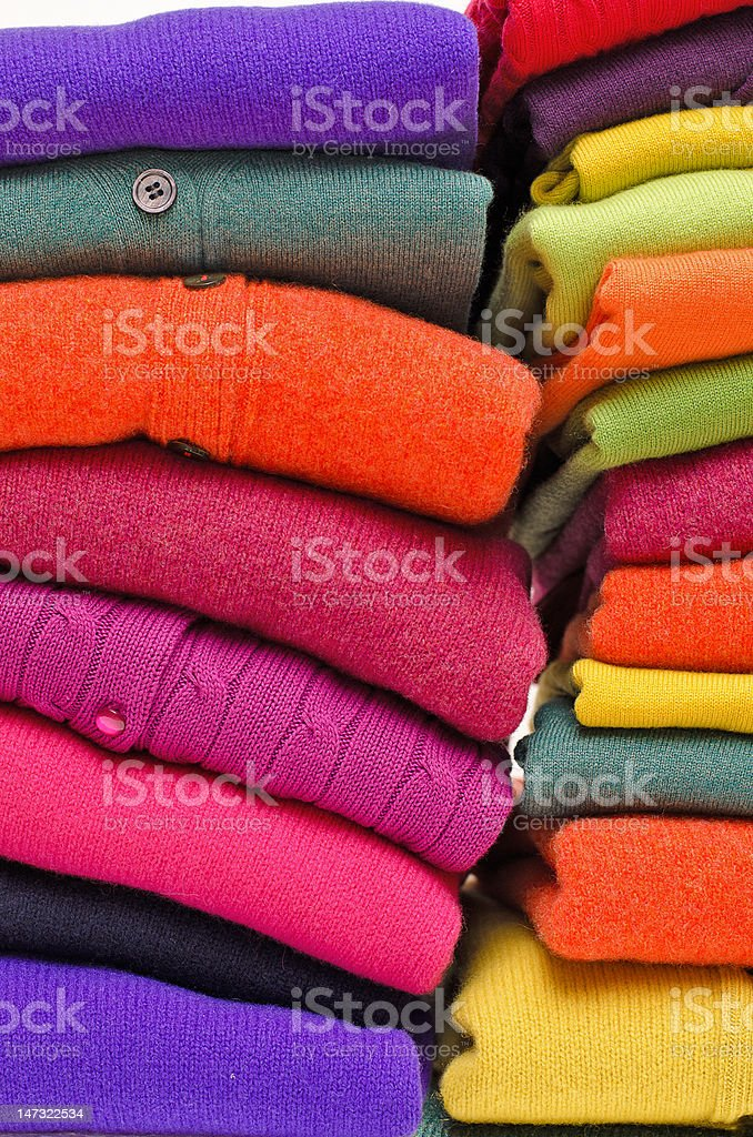 Cashmere, alpaca and merino wool ladies sweaters royalty-free stock photo