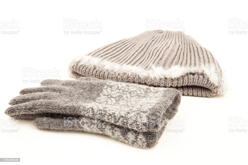 Cashmere grey winter gloves and hat or tuque stock photo