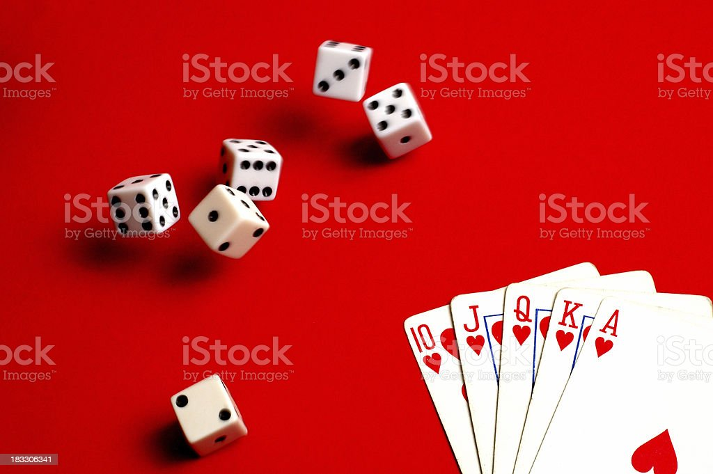 Casino Action on Red - #1 royalty-free stock photo