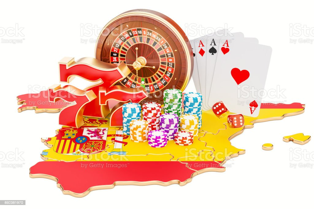 Casino and gambling industry in Spain concept, 3D rendering isolated on white background vector art illustration