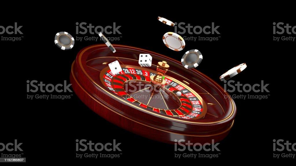 Casino background. Luxury Casino roulette wheel isolated on black...