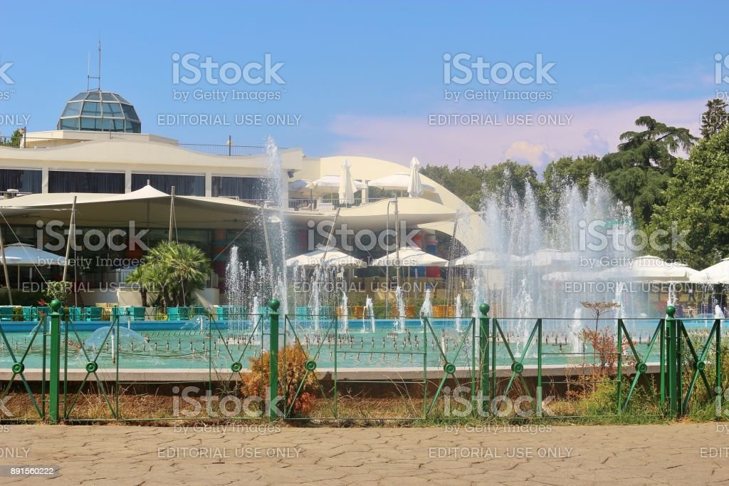 Casino building in Tirana, Albania. stock photo