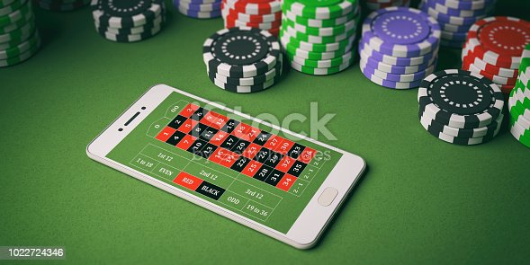 istock Casino chips and smartphone on green felt. 3d illustration 1022724346
